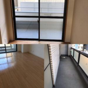 空き室清掃ガラスサッシ・床・ベランダ